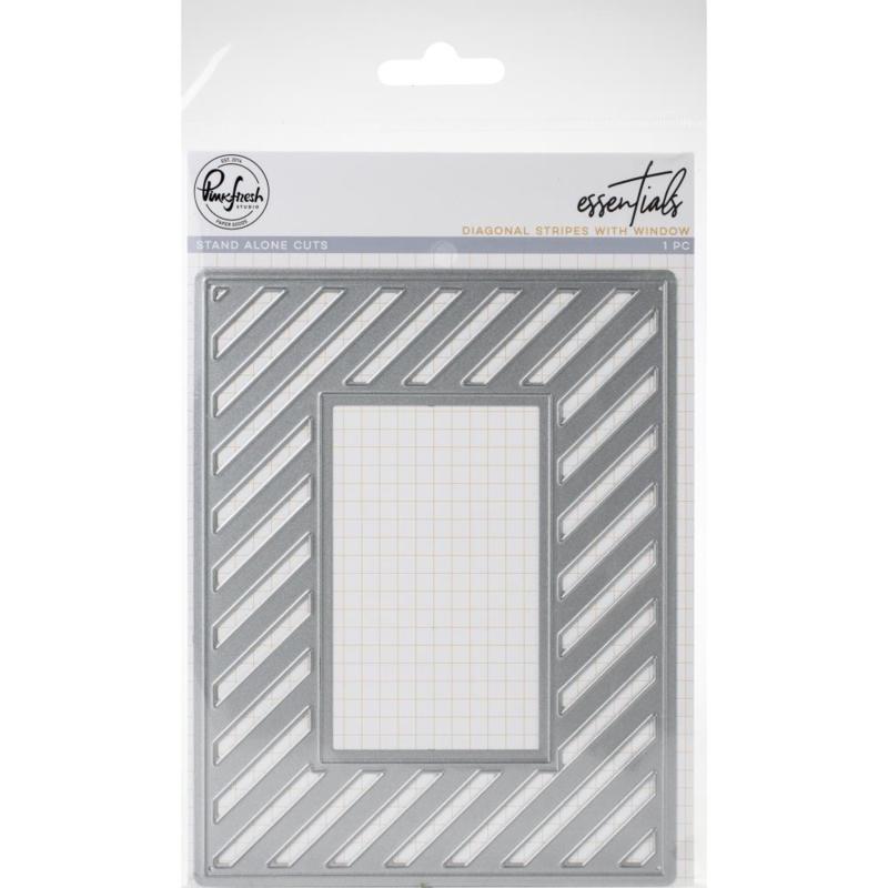 620251 PinkFresh Die Fancy Diagonal Stripes W/Window