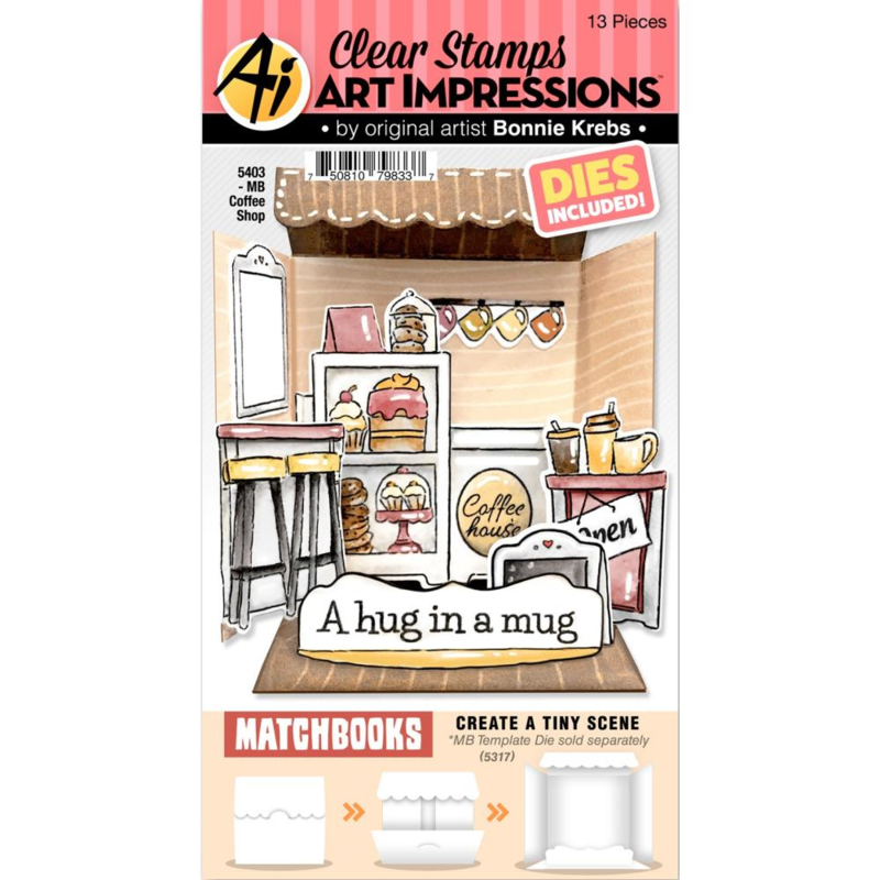 658928 Art Impressions Matchbooks Stamp & Die Set Coffee Shop