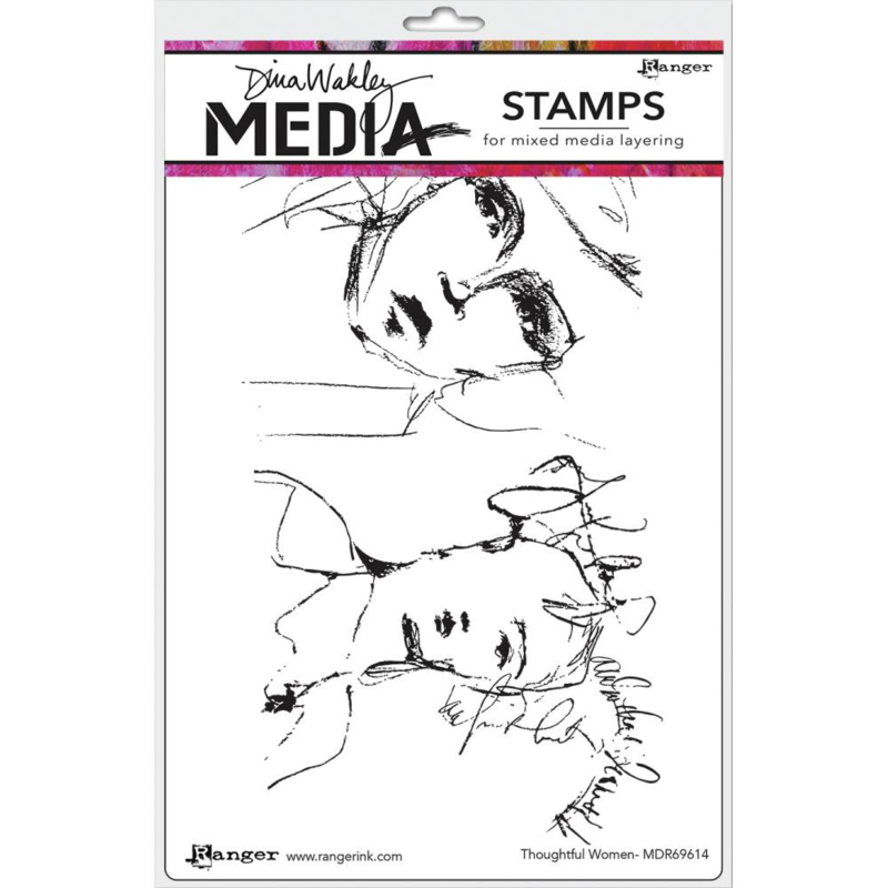 """617336 Dina Wakley Media Cling Stamps Thoughtful Women 6""""X9"""""""