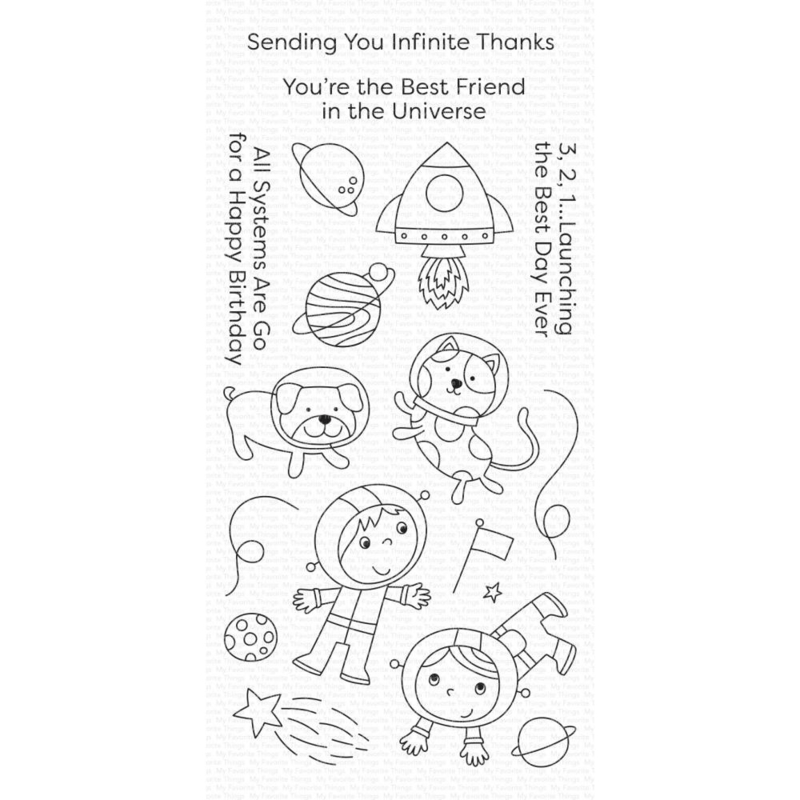 """CS488 My Favorite Things Clear Stamps Best Friends In The Universe 4""""X8"""""""