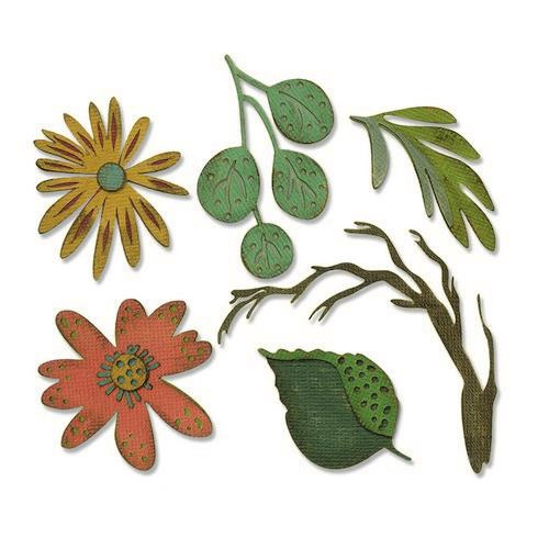 664158  Sizzix Thinlits Die Set 6PK Funky Floral Large Tim Holtz