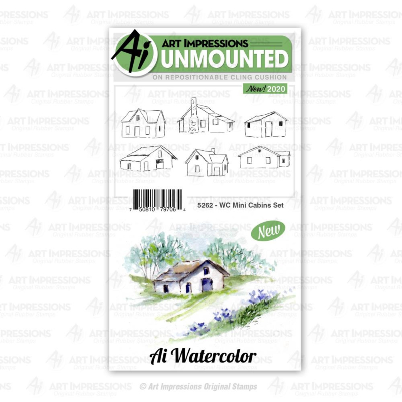 623302 Art Impressions Watercolor Cling Rubber Stamps WC Mini Cabins