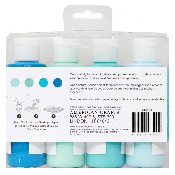 348500 American Crafts Color Pour pouring paint kit tidal