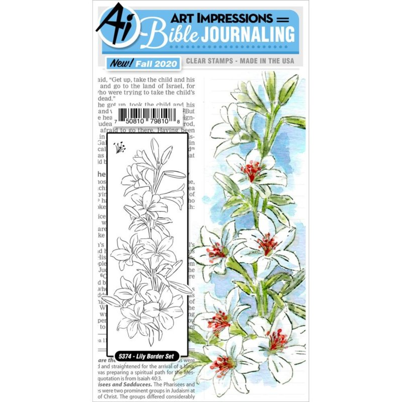 644047 Art Impressions Bible Journaling Cling Rubber Stamps Lily Border