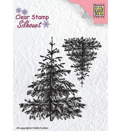SIL038 Stempel Christmas fir-trees