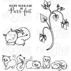 """588410 Heartfelt Creations Cling Rubber Stamp Set Purring & Playful 1"""" To 5.5"""""""