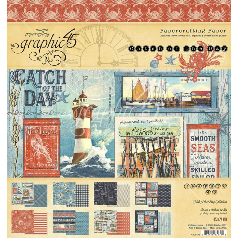 """G4502175 Graphic 45 Double-Sided Paper Pad Catch Of The Day 8""""X8"""" 24/Pkg"""