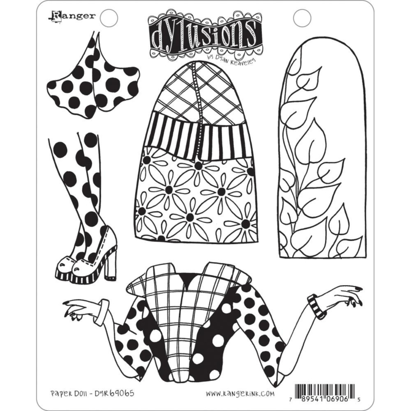 """602351 Dyan Reaveley's Dylusions Cling Stamp Collections Paper Doll 8.5""""X7"""""""