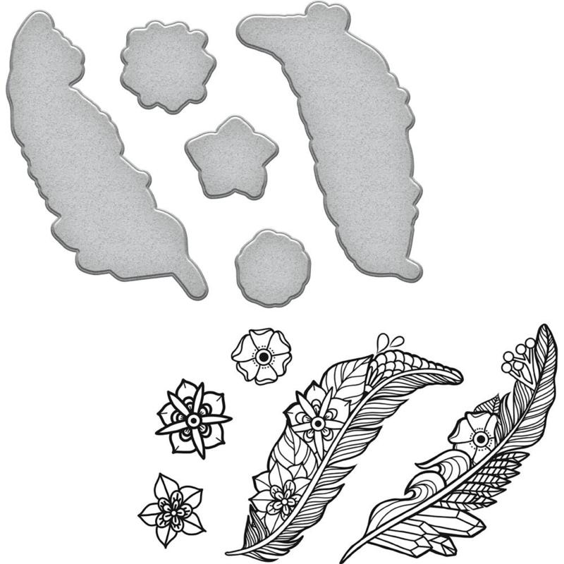 SDS100 Spellbinders Stamp & Die Set Good Vibes-Feathers By Stephanie Low