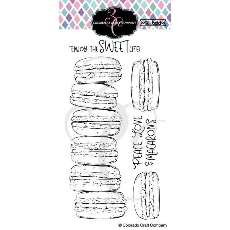 "651207 Colorado Craft Company Clear Stamps Slimline Macarons-Big & Bold 4""X8"""