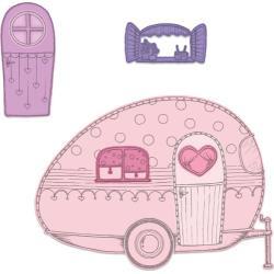 "594598 Heartfelt Creations Cut & Emboss Dies Happy Camper 1"" To 5.5"""