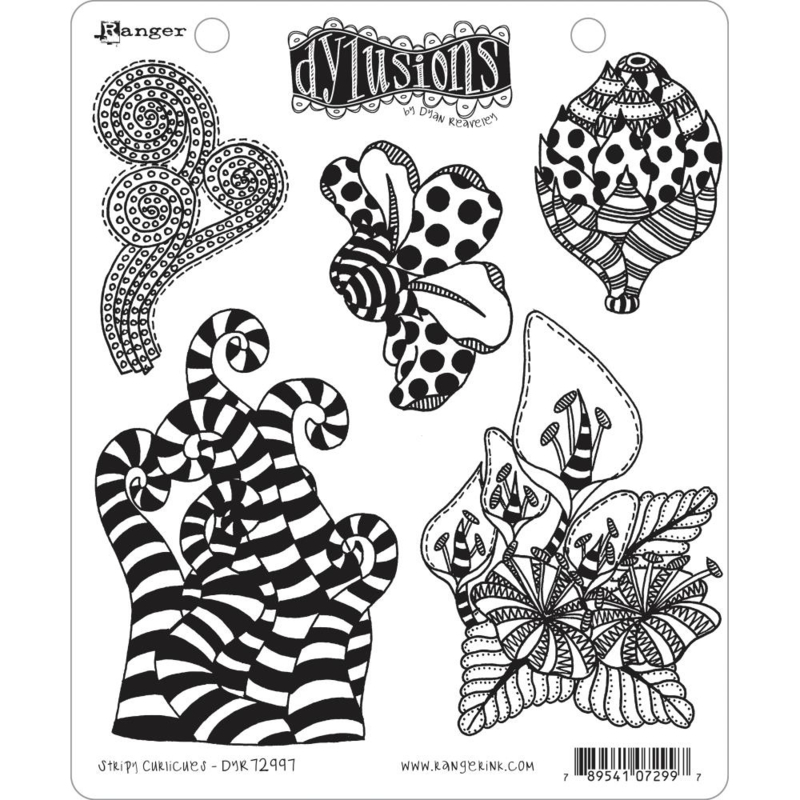 "617534 Dyan Reaveley's Dylusions Cling Stamp Stripy Curlicues 8.5""X7"""