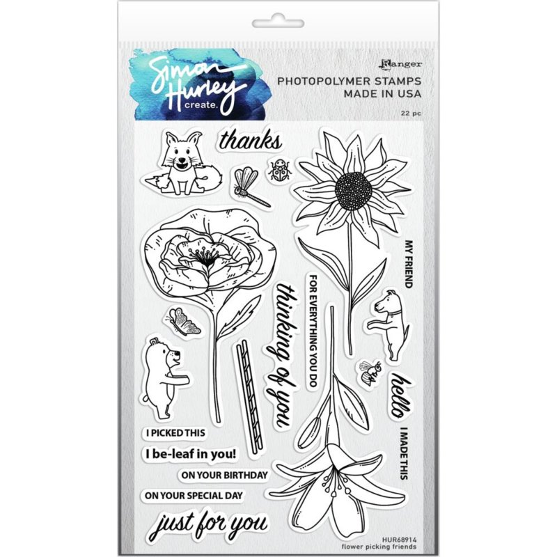 """617503 Simon Hurley create Cling Stamps Flower Picking Friends 6""""X9"""""""