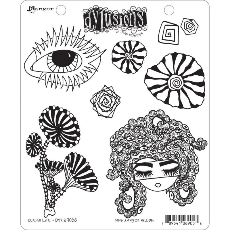 """602350 Dyan Reaveley's Dylusions Cling Stamp Collections Ocean Life 8.5""""X7"""""""
