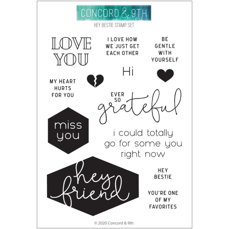 "636367 Concord & 9th Clear Stamps 4""X6"" Hey Bestie"