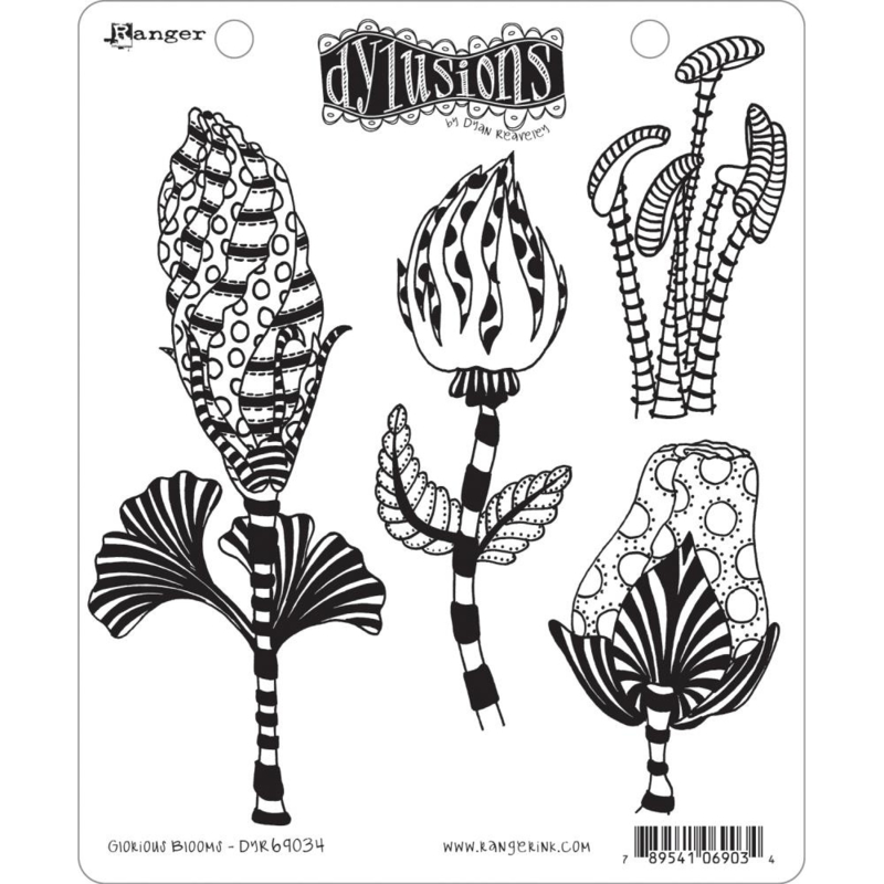 """602348 Dyan Reaveley's Dylusions Cling Stamp Collections Glorious Blooms 8.5""""X7"""""""