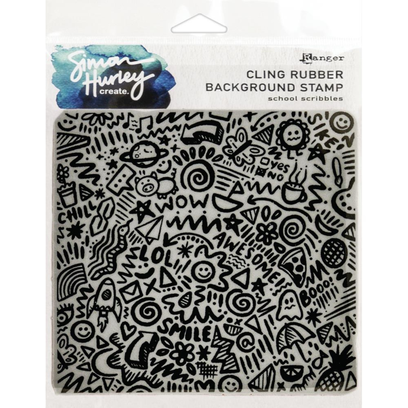 "617506 Simon Hurley create Cling Stamps School Scribbles 6""X6"""