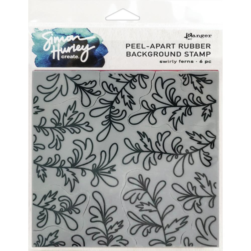 """HUR67 74311 Simon Hurley create. Cling Stamps Swirly Ferns 6""""X6"""""""