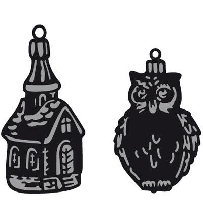 CR1381 Craftables Tiny's ornaments church & owl