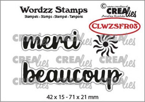 CLWZSFR03  Crealies Clearstamp Wordzz merci beaucoup