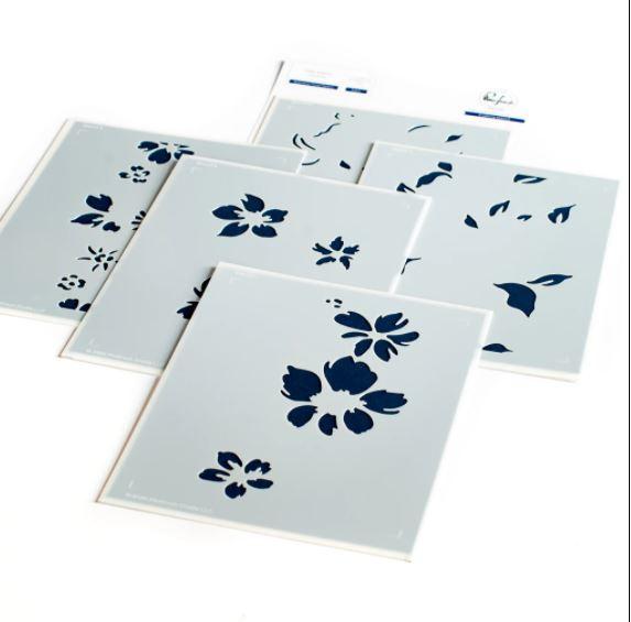 647335 PFST11 Pinkfresh Studio Stencils Seamless Floral Panel A2 5/Pkg