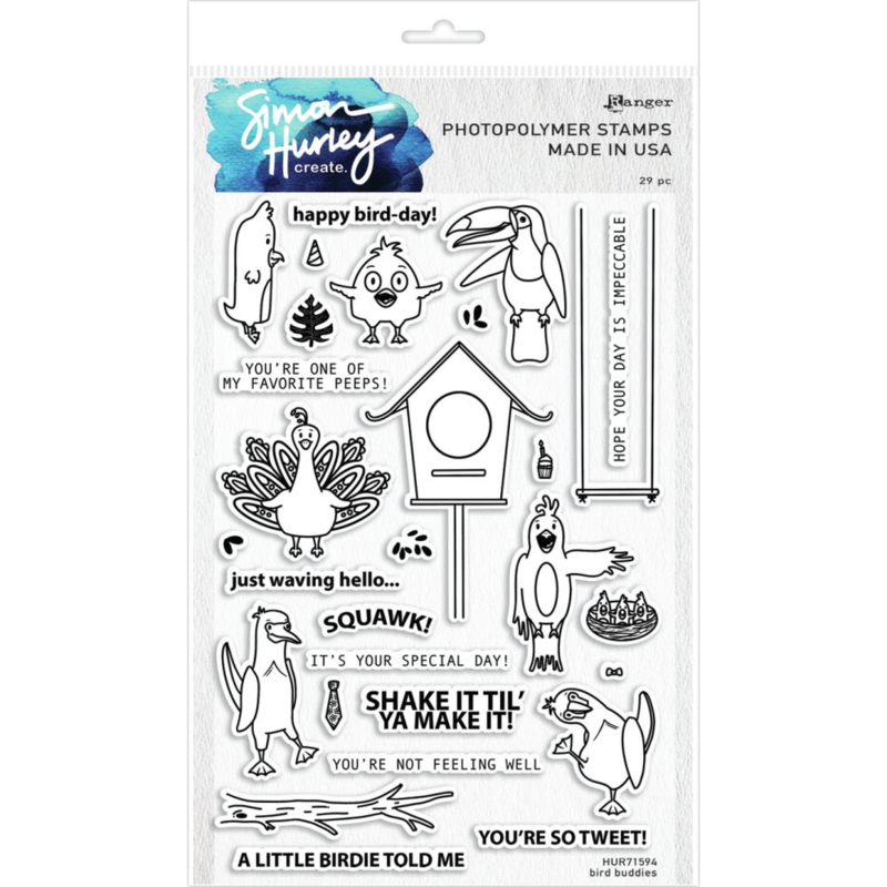"617501 Simon Hurley create Cling Stamps Bird Buddies 6""X9"""