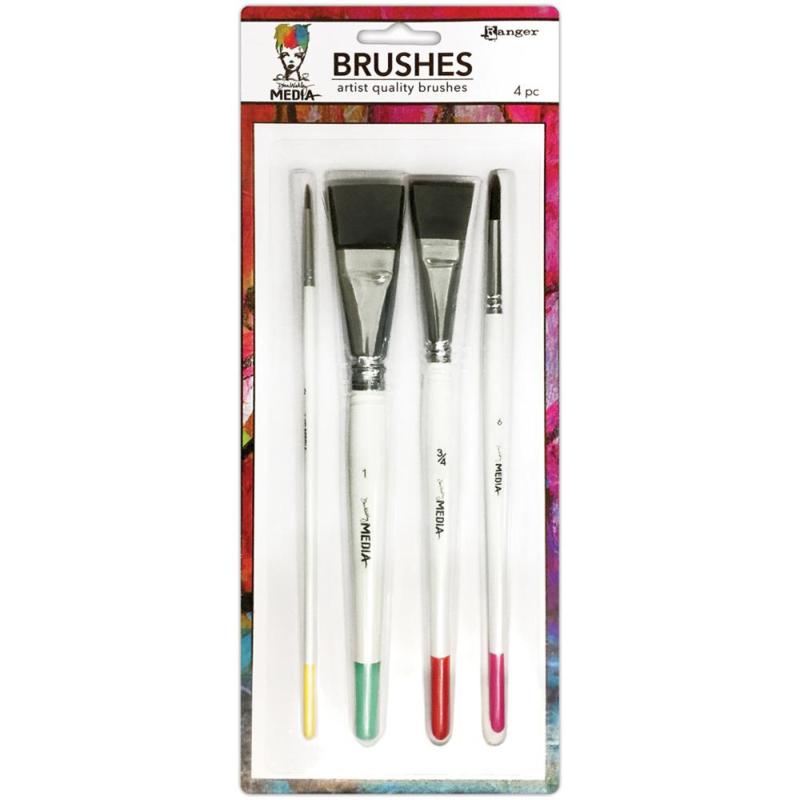 390075 Dina Wakley Media Brushes 4/Pkg