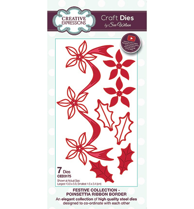CED3175 Creative Expressions Poinsettia Ribbon Border