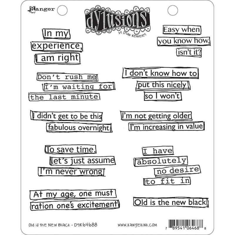 """541861 Dyan Reaveley's Dylusions Cling Stamp Collections Old Is The New Black 8.5""""X7"""""""