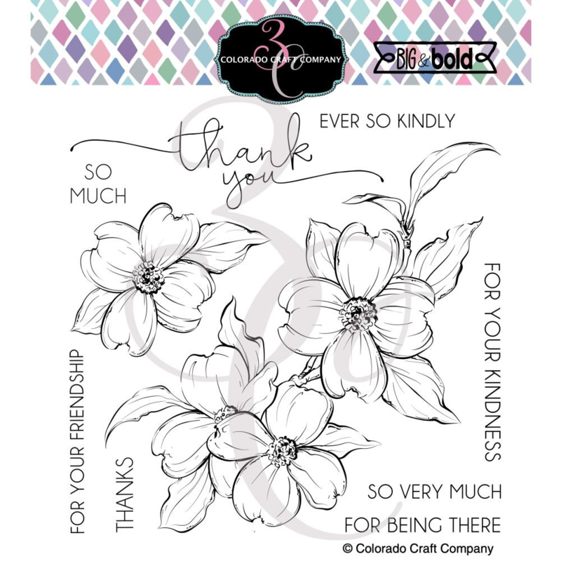"""647541 Colorado Craft Company Clear Stamps Thank You Dogwood-Big & Bold 6""""X6"""""""