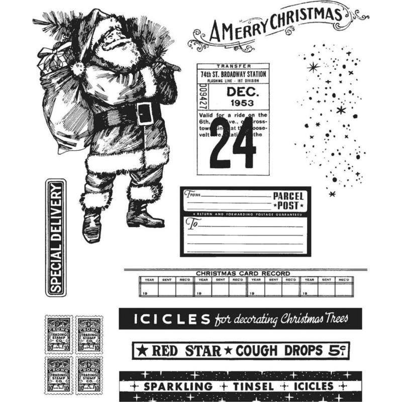 "CMS-LG 423 Tim Holtz Cling Stamps  Vintage Holidays 7""X8.5"""