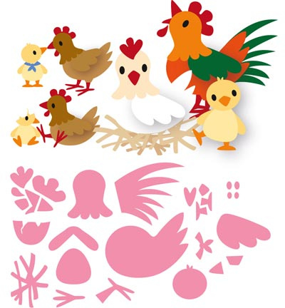 COL1429 Marianne Design Collectables Eline's chicken family