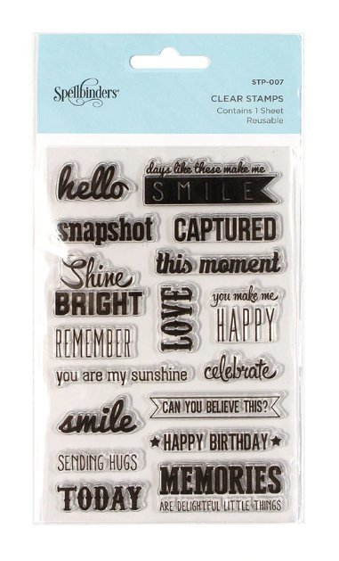 STP-007 Spellbinders Captured Sentiments Clear Stamps