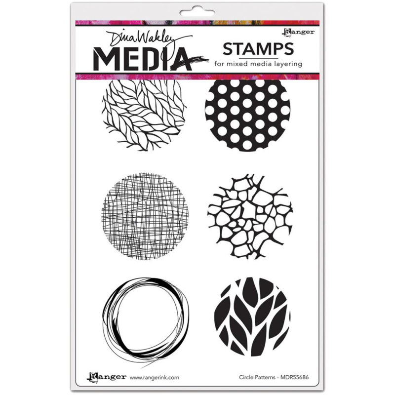 """466770 Dina Wakley Media Cling StampsSketched Layered Fronds  6""""X9"""""""