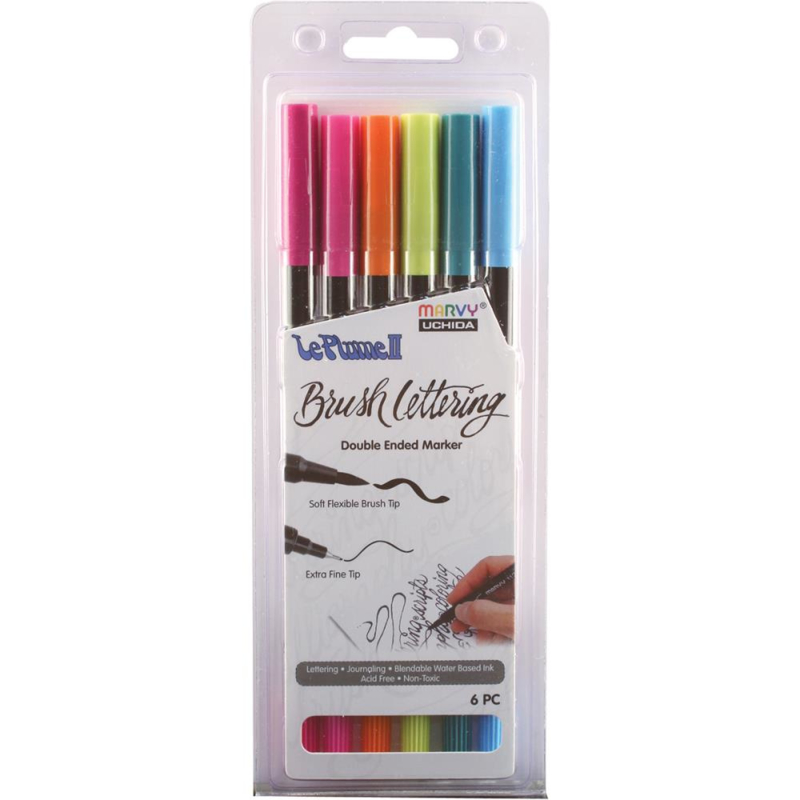 380990 Le Plume II Double-Ended Brush Lettering Marker Bright Set 6/Pkg