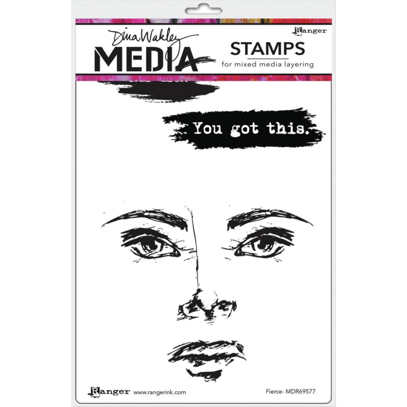 "617328 Dina Wakley Media Cling Stamps Fierce 6""X9"""