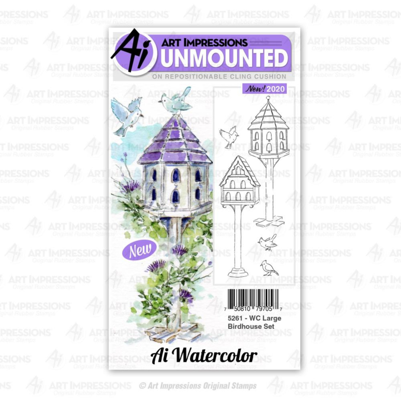 623301 Art Impressions Watercolor Cling Rubber Stamps WC Large Birdhouse