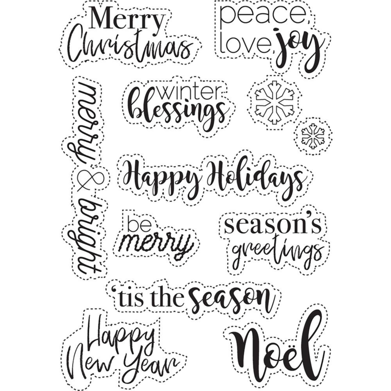 ECCS101 Elizabeth Crafts Clear Stamps Classic Christmas Sentiments