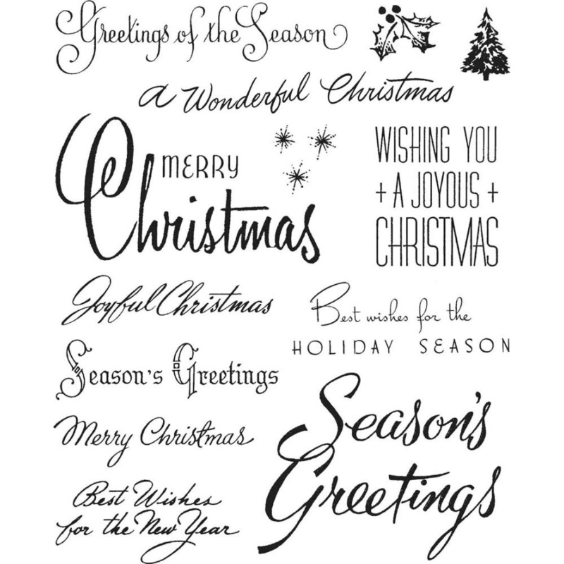 """CMS-LG 427 Tim Holtz Cling Stamps Christmastime #3  7""""X8.5"""""""