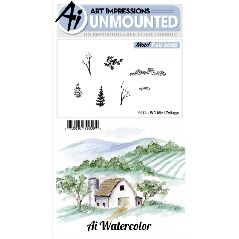 644040 Art Impressions Watercolor Cling Rubber Stamps Mini Foliage