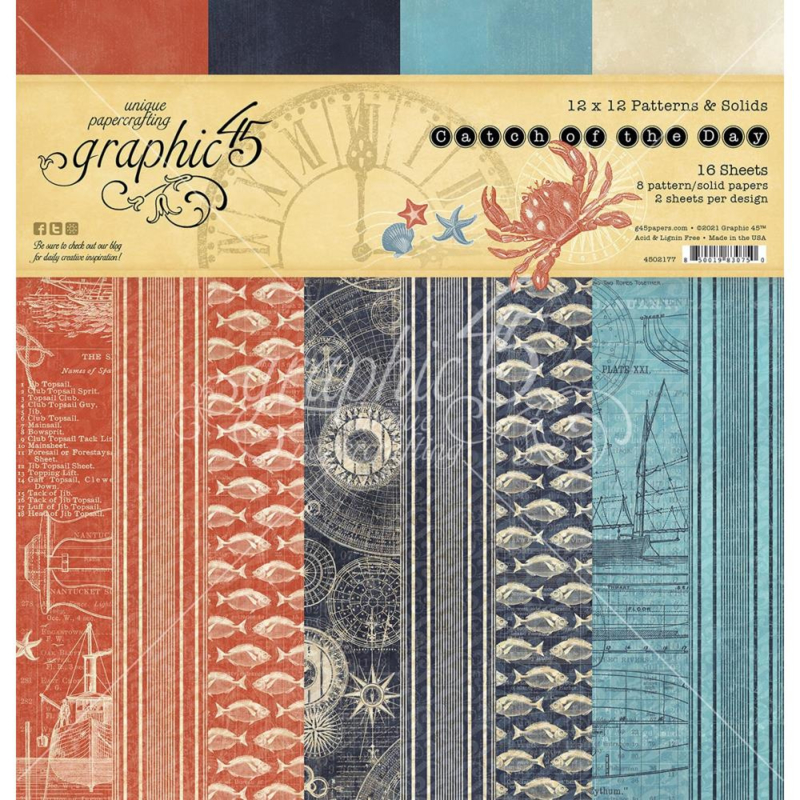 """G4502177 Graphic 45 Double-Sided Paper Pad Catch Of The Day 12""""X12"""" 16/Pkg"""