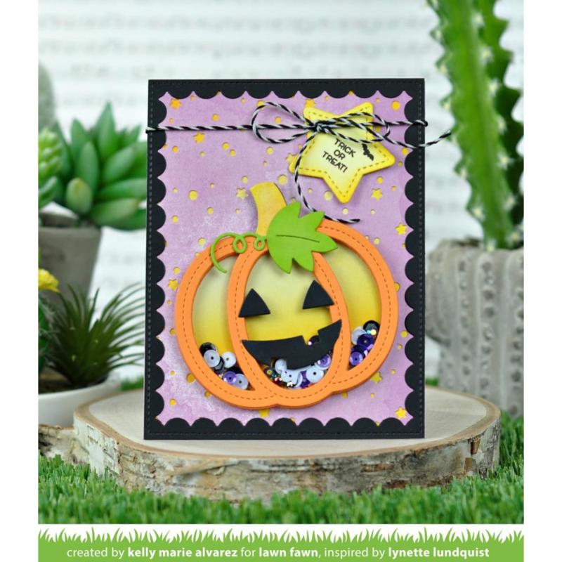 LF2058 Lawn Cuts Custom Craft Die Stitched Pumpkin Frame