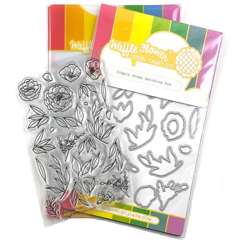 655004 Waffle Flower Stamp & Die Set Simple Stems