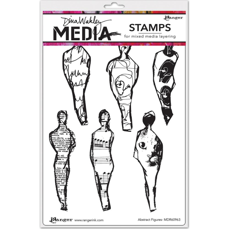 """343167 Dina Wakley Media Cling Stamps Abstract Figures 6""""X9"""""""