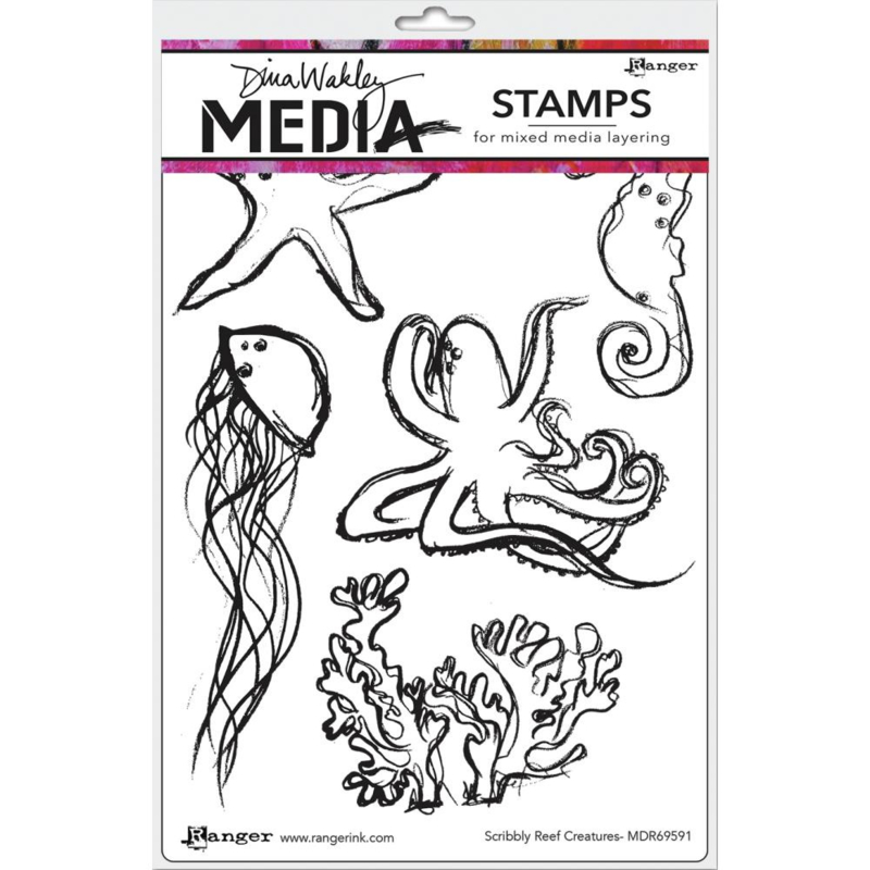 """617332 Dina Wakley Media Cling Stamps Scribbly Reef Creatures 6""""X9"""""""