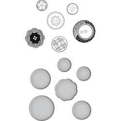 SDS077 Spellbinders Stamp & Die Set Vintage Buttons