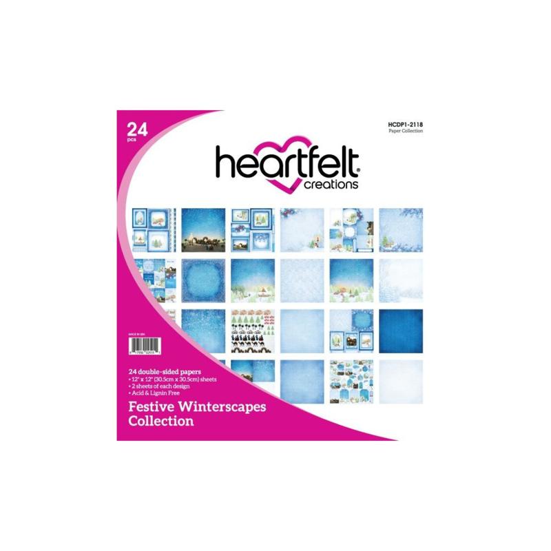 "HCDP1-2118 Heartfelt Creations Double-Sided Paper Pad Festive Winterscapes 12""X12"" 24/Pkg"