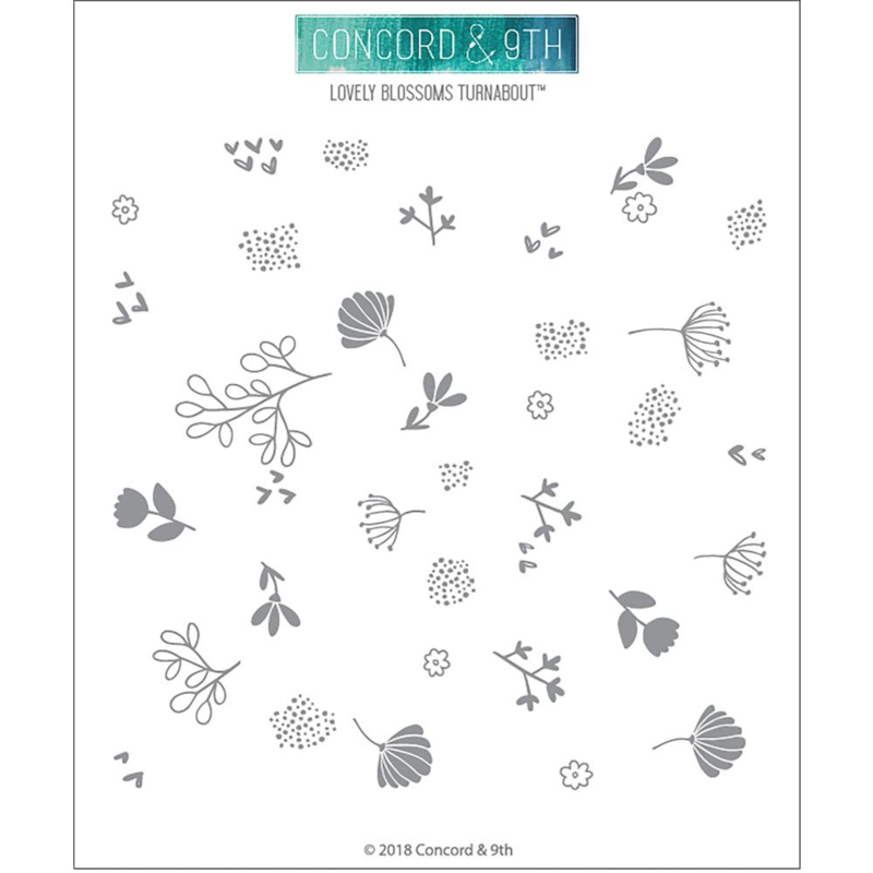 """341711 Concord & 9th Clear Stamps Lovely Blossoms Turnabout 6""""X6"""""""