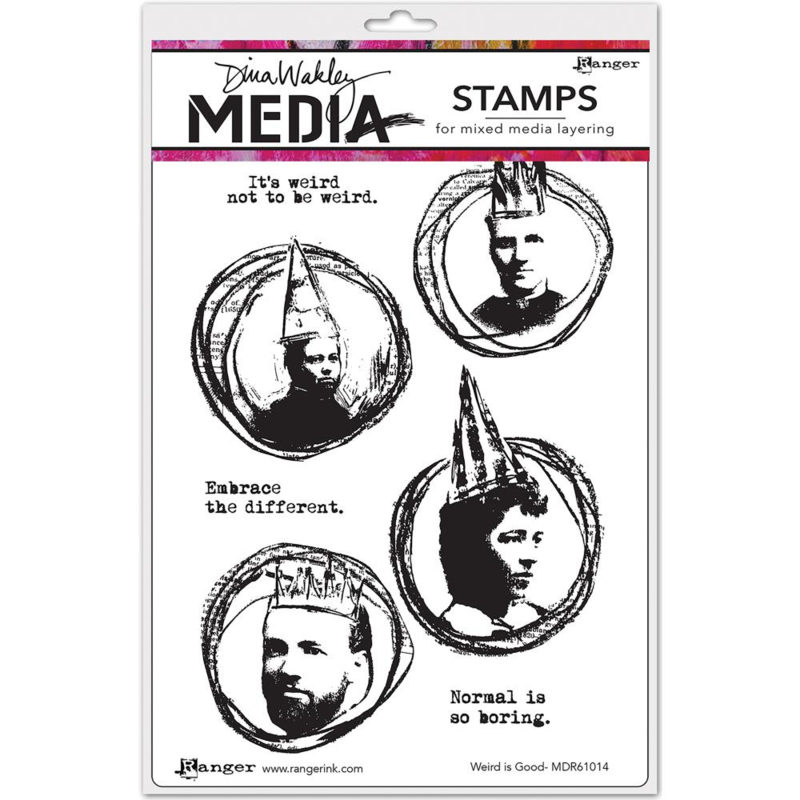 """343174 Dina Wakley Media Cling Stamps Weird Is Good 6""""X9"""""""