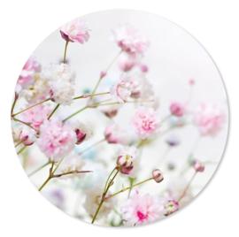 muurcirkel roze bloemen 70 cm
